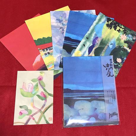 青空亭(チャンキー+いぬんこ) 飾れる貼り絵A5カード5枚+1枚