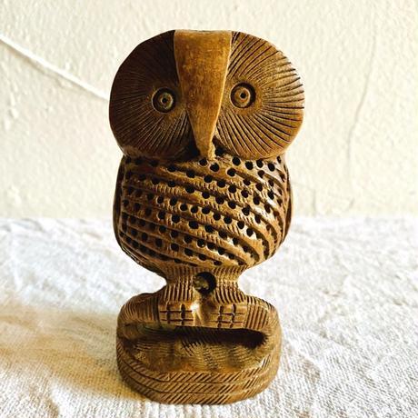 houti 可愛いお顔の木彫りふくろうさん