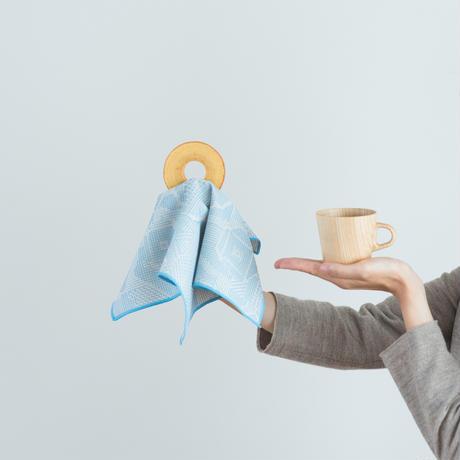 十布 福島の刺子織 ハンカチ ライトブルー