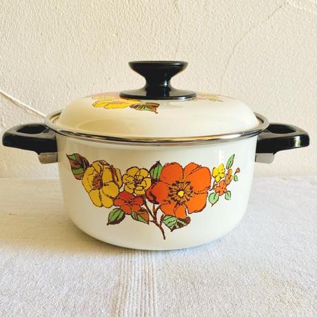 houti|noritake 可愛い花柄ホーロー鍋 18センチ