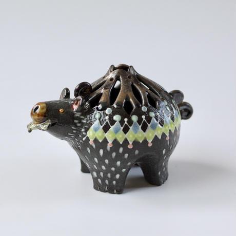 みかガマ|15クマやん黒花器