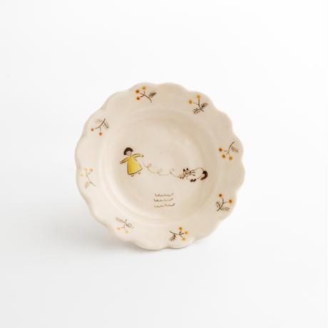 すずきあきこ|10.花型豆皿 花と猫シリーズ