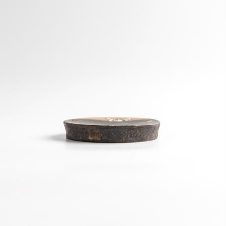 acne pottery studio|23黒釉の流し掛け皿(小)
