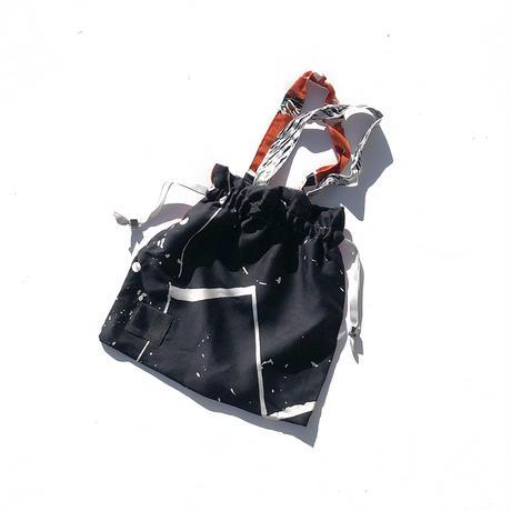 YUMI YOSHIMOTO| ハンドプリント巾着バッグ(S)Black