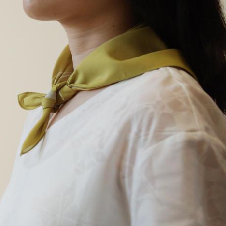 Canako Inoue フルート ハンカチ(white-green)