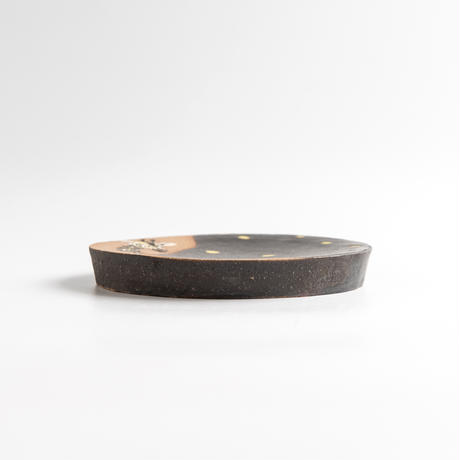 acne pottery studio|19黒釉の流し掛け皿(大)