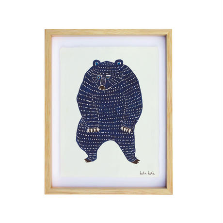 kata kata  型染め和紙額絵 踊るクマ
