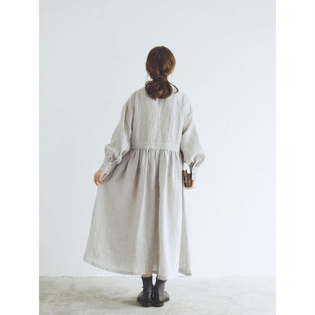 MAGALI シャンブレーリネン・比翼ギャザーワンピース/ライトグレー
