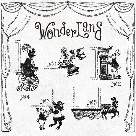切手のこびと WonderLand-03 白ヤギのエマと黒ヤギのヤン + シール1枚