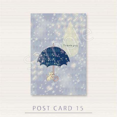 PC15 月の光が集まって現れるねこ達の傘のポストカード