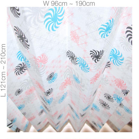 "【ORDER CURTAINS】オーダーカーテン(遮光裏地付):""風車""ピンク 巾 96cm~190cm ・ 丈 121cm~210cm(2枚セット)"