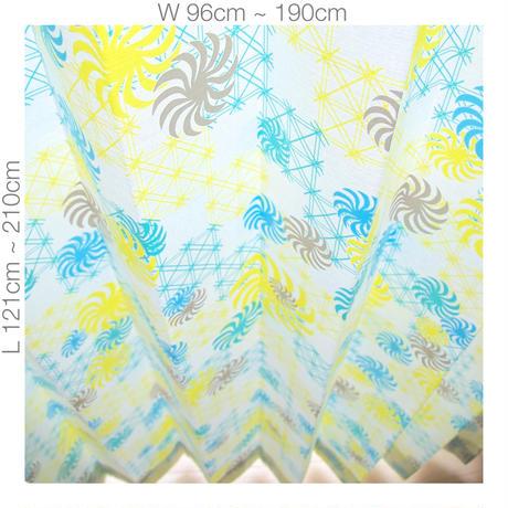 """【ORDER CURTAINS】オーダーカーテン(遮光裏地付):""""風車""""グリーン 巾 96cm~190cm ・ 丈 121cm~210cm(2枚セット)"""