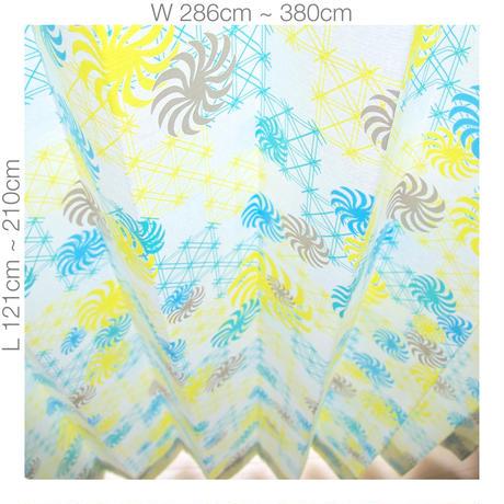 """【ORDER CURTAINS】オーダーカーテン(遮光裏地付):""""風車""""グリーン 巾 286cm~380cm ・ 丈 121cm~210cm(2枚セット)"""