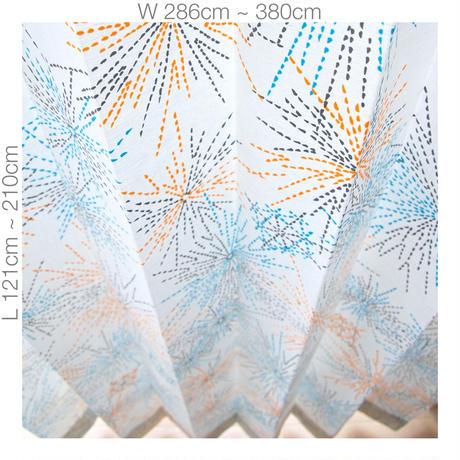 "【ORDER CURTAINS】オーダーカーテン(遮光裏地付):""花火""オレンジ 巾 286cm~380cm ・ 丈 121cm~210cm(2枚セット)"