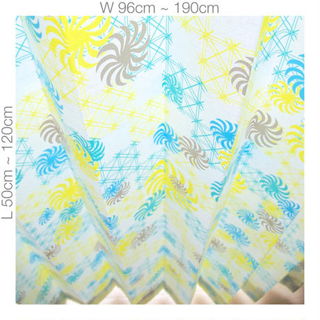 """【ORDER CURTAINS】オーダーカーテン(遮光裏地付):""""風車""""グリーン 巾 96cm~190cm ・ 丈 50cm~120cm(2枚セット)"""