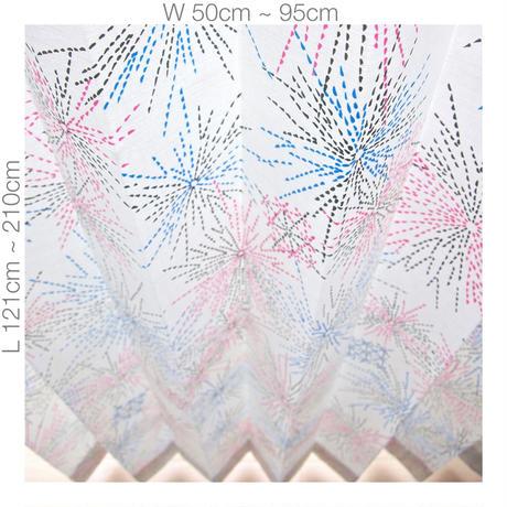 "【ORDER CURTAINS】オーダーカーテン(遮光裏地付):""花火""ピンク 巾 50cm~ 95cm ・ 丈 121cm~210cm(1枚)"