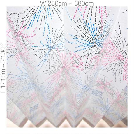 "【ORDER CURTAINS】オーダーカーテン(遮光裏地付):""花火""ピンク 巾 286cm~380cm ・ 丈 121cm~210cm(2枚セット)"