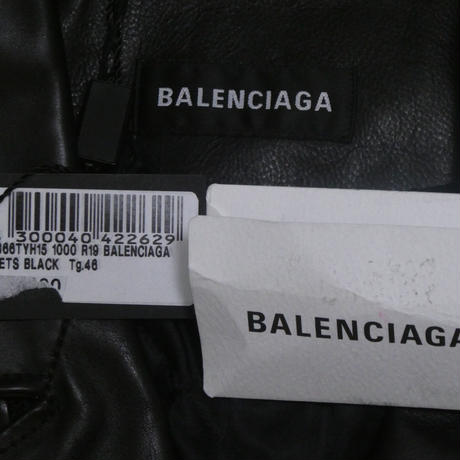 BALENCIAGA デニム切替ライダースジャケット 46