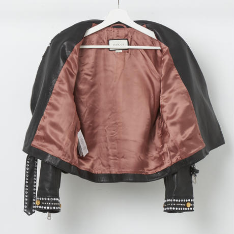 GUCCI ビジュー装飾ライダースジャケット 42