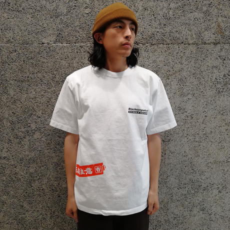 BLACK EYE PATCH HANDLE WITH CARE S/S TEE  WHITE