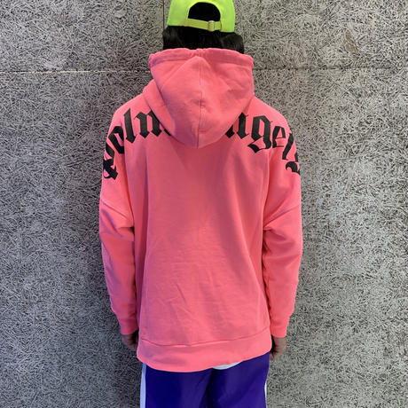 PALM  ANGELS  LOGO OVER HOODY  FLUO PINK