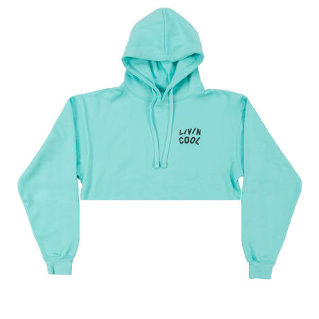 LIVINCOOL WAVY  CROP HOODIE LIGHT BLUE