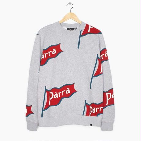 BY PARRA FLAPPING FLAG CROW NECK SWEATER HEATHER GREY