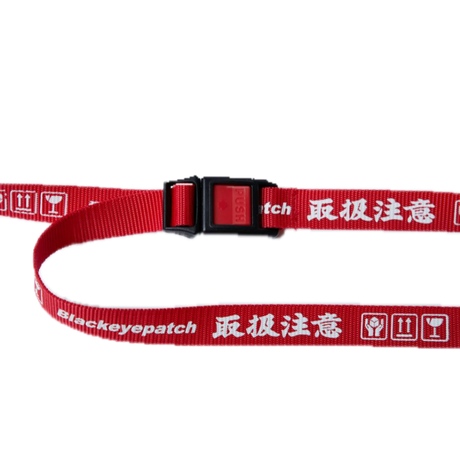 BLACK EYE PATCH HANDLE WITH CARE  BELT  RED