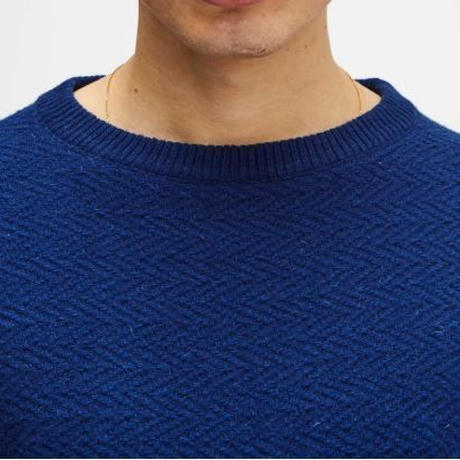 SOULLAND CASSIDY HERRINGBONE SWEATER BLUE
