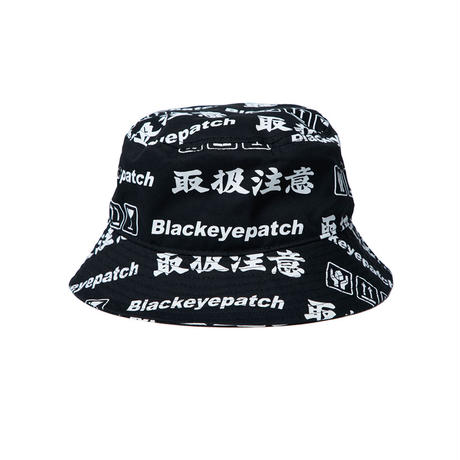 BLACK EYE PATCH HANDLE WITH CARE BUCKET HAT BLACK
