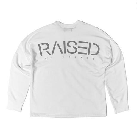 RAISED BY WOLVES SPILIT DOLMAN SWEATSHIRT WHITE