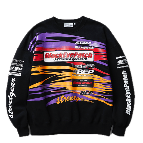 BLACK EYE PATCH RACING CREW SWEAT BLACK