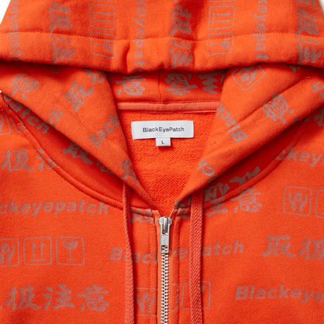 BLACK EYE PATCH HANDLE WITH CARE ZIP HOODIE ORANGE