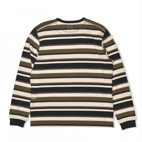 POP TRADING COMPANY  CO STRIPED LONGSLEEVE TEE MULTI AMBER/OFFWHITE