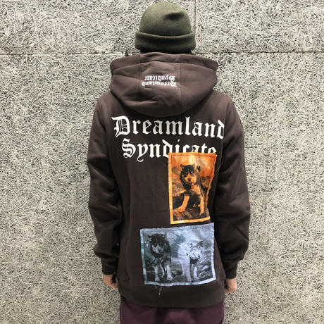 DREAMLAND SYNDICATE  DOG HOODIE PATCHES BROWN