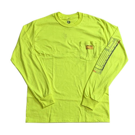 PARK DELICATESSEN CHECK LIST LONG SLEEVE TEE SAFETY GREEN