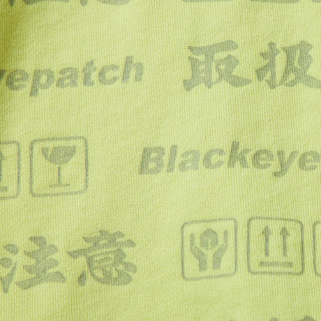 BLACK EYE PATCH HANDLE WITH CARE ZIP HOODIE YELLOW