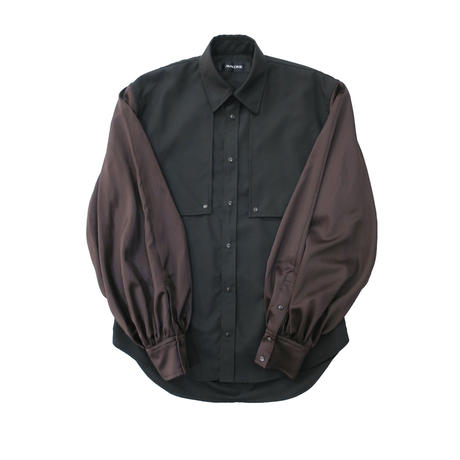BALLOON SLEEVE SHIRT  /  BLACK×BROWN