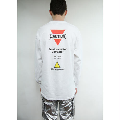 CAUTION LONG SLEEVE TEE / WHITE