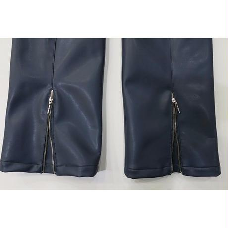 2 PANEL LEATHER BOOTCUT PANTS  / GRAY