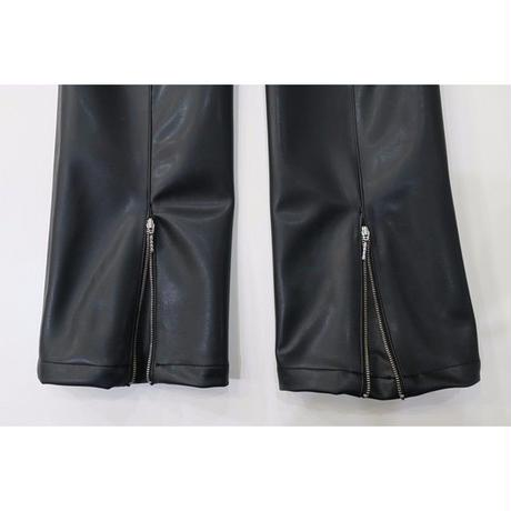 2 PANEL LEATHER BOOT CUT PANTS  / BLACK