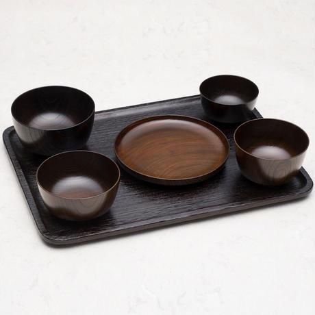 一汁三菜  欅(ケヤキ)材  汁椀(朱摺・黒摺 有)