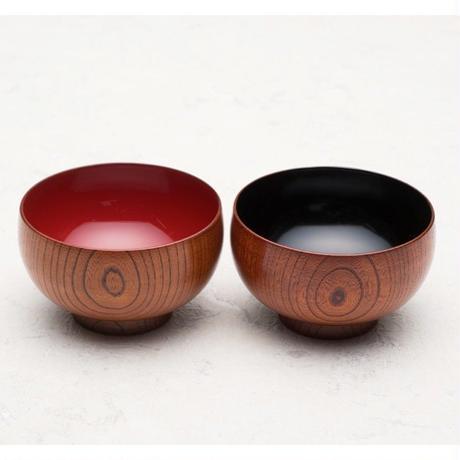 木製 本欅汁椀 布袋型 摺漆塗(内朱・内黒 有)