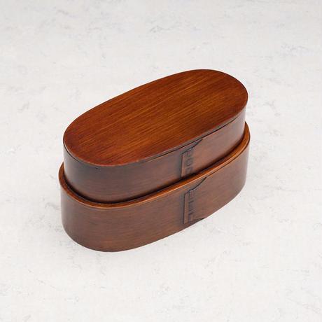 木製 曲げワッパ弁当  摺漆塗 2段 仕切付