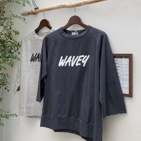 【メンズ】u.m.i sunrise ( ユーエムアイサンライズ) 袖口が切りっぱなし 7分袖Tシャツ WAVEY Y-0725C