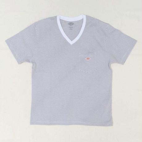 【レディス】DANTON(ダントン)ポケット付Vネック 半袖Tシャツ ボーダー JD-9088ST