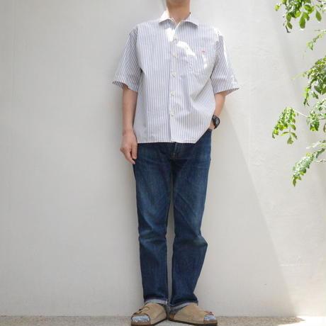 【メンズ】DANTON(ダントン)コットンストライプ 半袖ワイドシャツ  [JD-3609TSS-MNS]