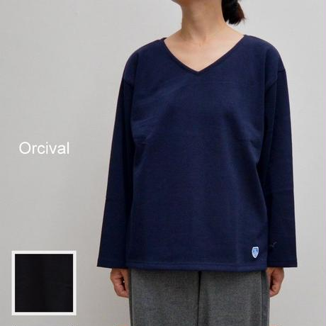 【レディス】程よくゆとりのあるサイズ感で女性らしい雰囲気です。  Orcival(オーチバル) コットンロード Vネックカットソー  RC-9144