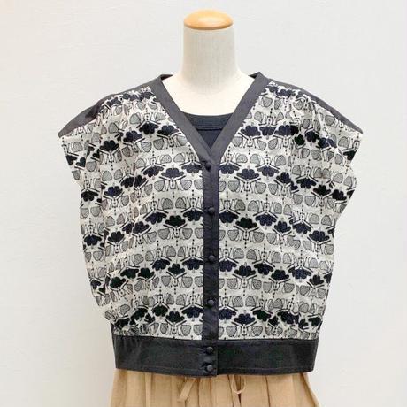 【レディス】Porter des boutons(ポルテ デ ブトン)コットンリネン 刺繍フレンチブラウス [P-19208]