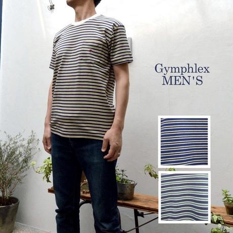 【SALE 30%OFF】【メンズ】Gymphlex ジムフレックス  クルーネック マルチボーダーTシャツ  [J-1041ST]